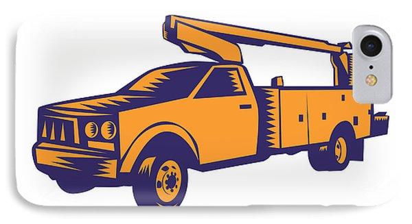 Cherry Picker Mobile Lift Truck Woodcut IPhone Case by Aloysius Patrimonio