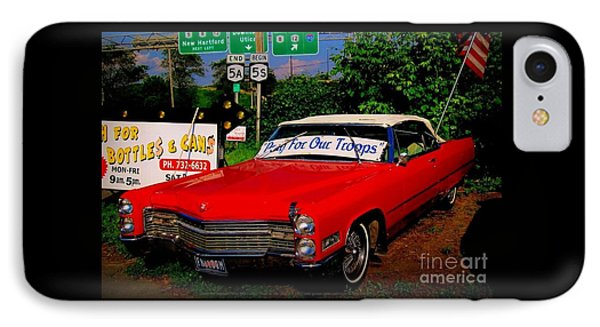 Cherry Red American Patriot 1966 Cadillac Coupe De Ville IPhone Case by Peter Gumaer Ogden