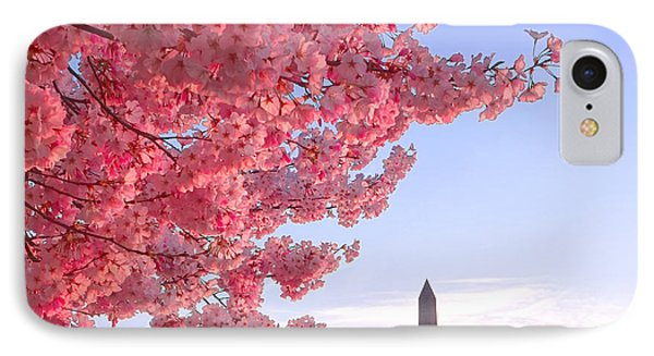 Cherry Tree And The Washington Monument  IPhone 7 Case by Olivier Le Queinec