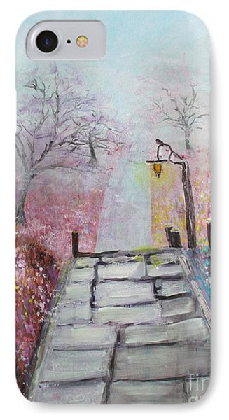 IPhone Case featuring the painting Cherry Trees In Fog by Donna Dixon
