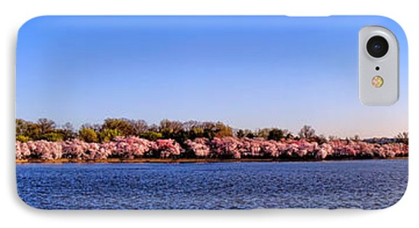 Cherry Trees On The Tidal Basin And Washington Monument  IPhone Case