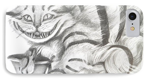 IPhone Case featuring the drawing Chershire Cat  by Meagan  Visser