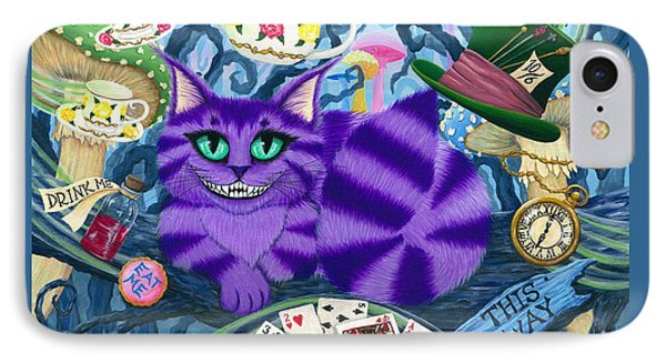 IPhone Case featuring the painting Cheshire Cat - Alice In Wonderland by Carrie Hawks