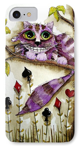 Cheshire Cat IPhone Case by Lucia Stewart