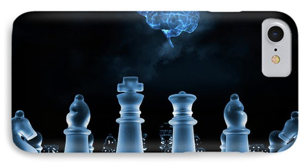 Chess Game And Human Brain IPhone Case by Christian Lagereek