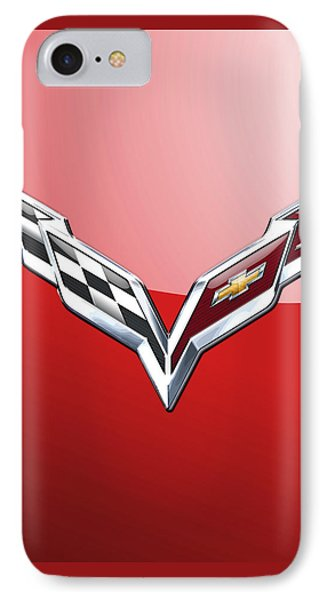 Chevrolet Corvette - 3d Badge On Red IPhone Case by Serge Averbukh