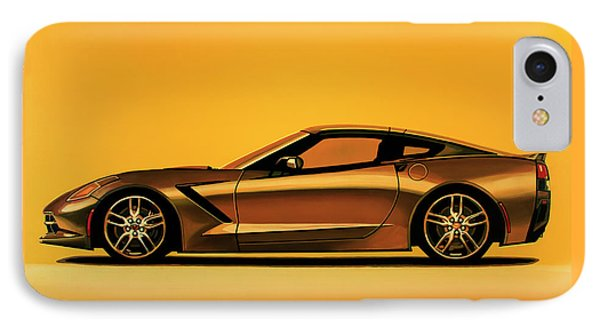 Chevrolet Corvette Stingray 2013 Painting IPhone Case by Paul Meijering