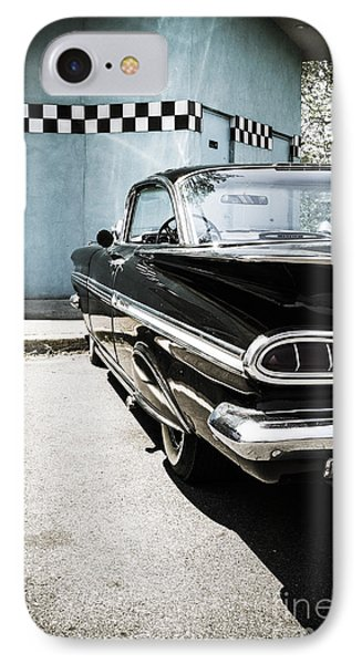 Chevrolet Impala In Front Of American Diner IPhone Case by Perry Van Munster