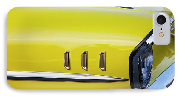 IPhone Case featuring the photograph Chevy Bel Air Abstract In Yellow by Toni Hopper
