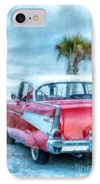 Chevy Belair At The Beach Watercolor IPhone Case