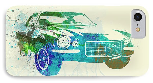 Chevy Camaro Watercolor IPhone Case by Naxart Studio