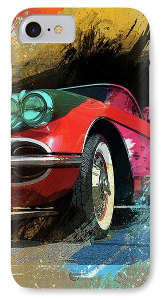 Chevy Corvette Digital Art IPhone Case by Ron Grafe