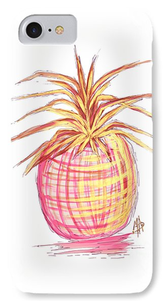 Chic Pink Metallic Gold Pineapple Fruit Wall Art Aroon Melane 2015 Collection By Madart IPhone 7 Case