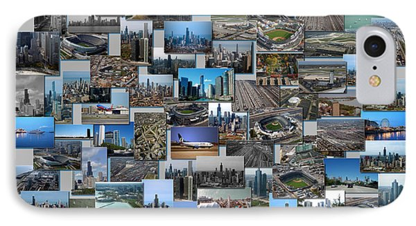 Chicago Aerial Collage Rectangle Grey IPhone Case by Thomas Woolworth