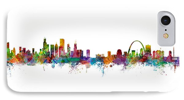 Chicago And St Louis Skyline Mashup IPhone Case by Michael Tompsett