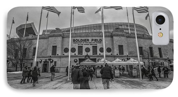 Chicago Bears Soldier Field Black White 7861 IPhone Case by David Haskett