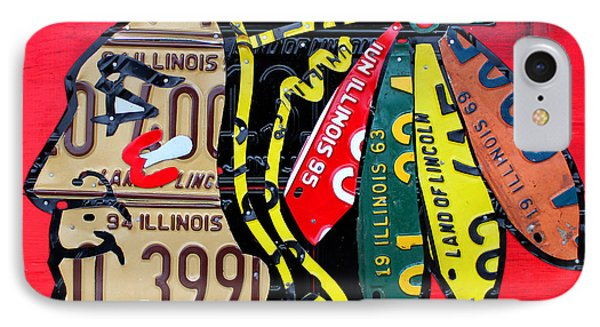 Chicago Blackhawks Hockey Team Vintage Logo Made From Old Recycled Illinois License Plates Red IPhone Case by Design Turnpike
