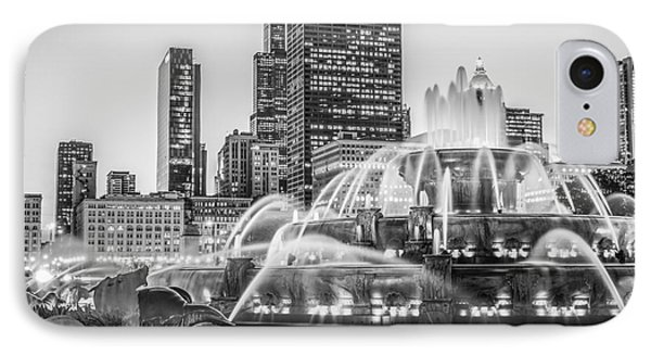 Chicago Buckingham Fountain Black And White Photo IPhone Case