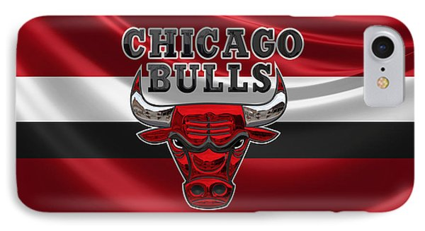 Chicago Bulls - 3 D Badge Over Flag IPhone Case by Serge Averbukh