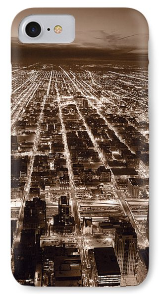 Chicago City Lights West B W Phone Case by Steve Gadomski