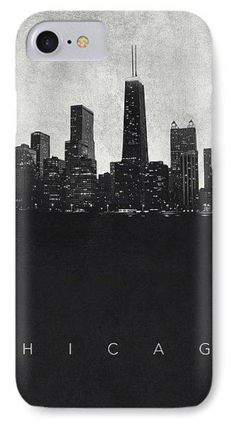 Chicago City Skyline - Urban Noir IPhone Case by World Art Prints And Designs