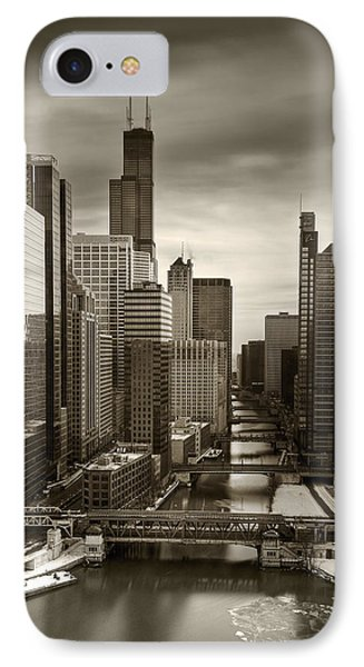 Chicago City View Afternoon B And W 16x20 IPhone Case by Steve Gadomski