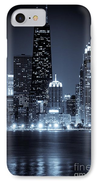 Chicago Cityscape At Night IPhone Case by Paul Velgos