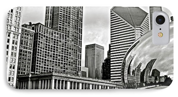 Chicago Cloud Gate Grayscale IPhone Case by Frozen in Time Fine Art Photography