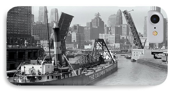 IPhone Case featuring the photograph Chicago Draw Bridge 1941 by Daniel Hagerman