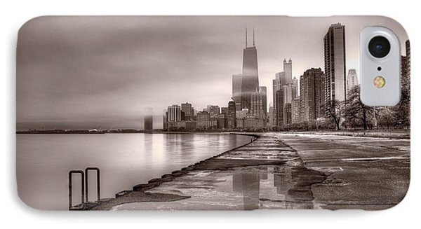 Chicago Foggy Lakefront Bw IPhone 7 Case by Steve Gadomski