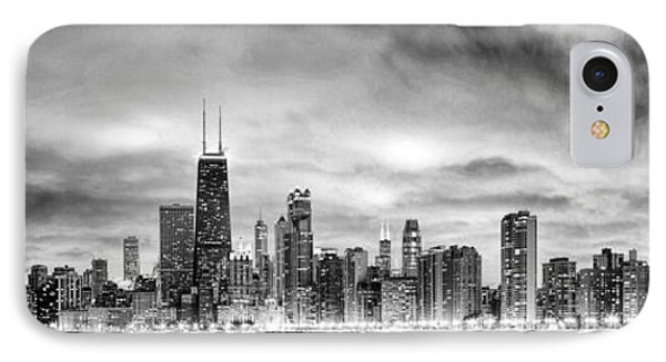Chicago Gotham City Skyline Black And White Panorama IPhone Case by Christopher Arndt