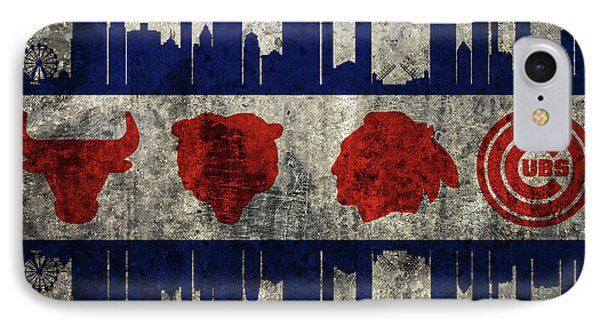 Chicago Grunge Flag IPhone Case by Dan Sproul