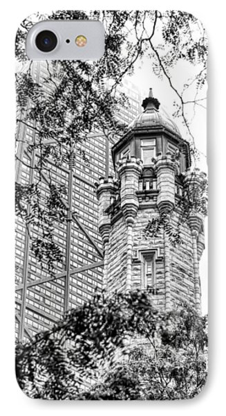 IPhone 7 Case featuring the photograph Chicago Historic Water Tower Fog Black And White by Christopher Arndt