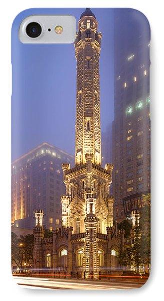 Chicago Historic Water Tower On Michigan Avenue Foggy Twilight - Chicago Illinois IPhone Case by Silvio Ligutti