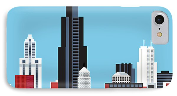 Chicago Illinois Horizontal Skyline IPhone Case by Karen Young