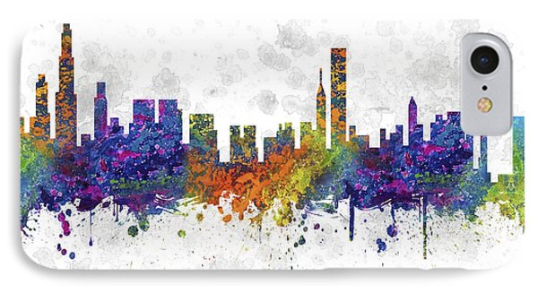 Chicago Illinois Skyline Color 03sq IPhone Case by Aged Pixel