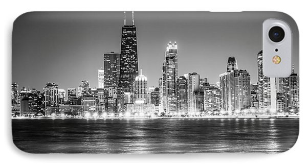 Chicago Lakefront Skyline Black And White Photo IPhone 7 Case by Paul Velgos