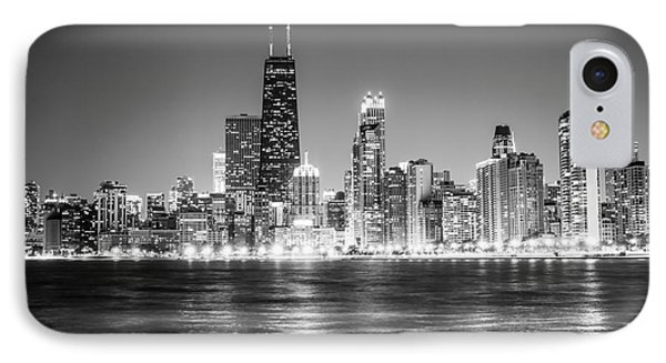 Chicago Lakefront Skyline Black And White Photo IPhone Case