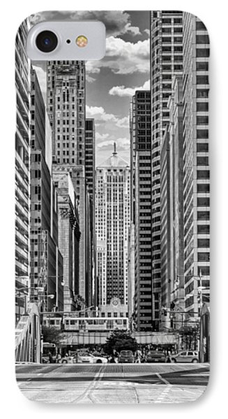 IPhone 7 Case featuring the photograph Chicago Lasalle Street Black And White by Christopher Arndt
