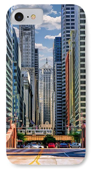 IPhone 7 Case featuring the painting Chicago Lasalle Street by Christopher Arndt