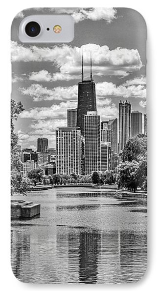 IPhone 7 Case featuring the painting Chicago Lincoln Park Lagoon Black And White by Christopher Arndt