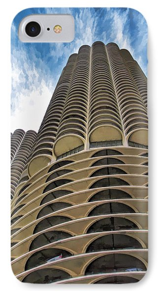 IPhone 7 Case featuring the painting Chicago Marina Towers by Christopher Arndt