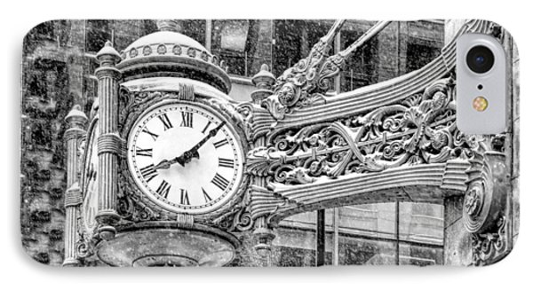 IPhone 7 Case featuring the photograph Chicago Marshall Field State Street Clock Black And White by Christopher Arndt