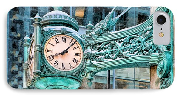 IPhone 7 Case featuring the painting Chicago Marshall Field State Street Clock by Christopher Arndt