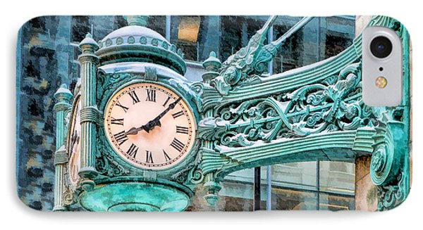 IPhone Case featuring the painting Chicago Marshall Field State Street Clock by Christopher Arndt