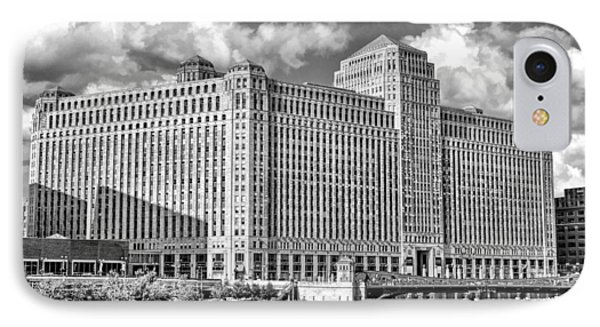 IPhone 7 Case featuring the photograph Chicago Merchandise Mart Black And White by Christopher Arndt