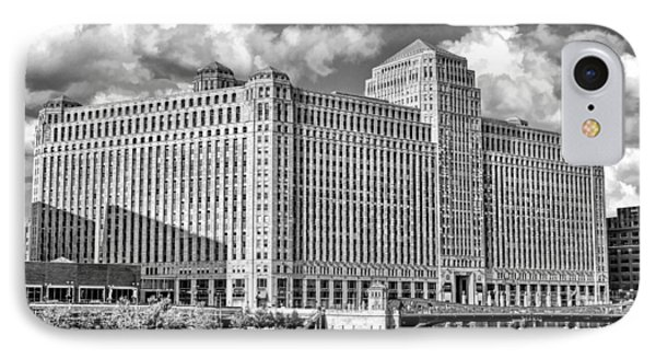 IPhone Case featuring the photograph Chicago Merchandise Mart Black And White by Christopher Arndt