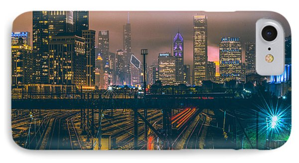 Chicago Night Skyline  IPhone 7 Case by Cory Dewald