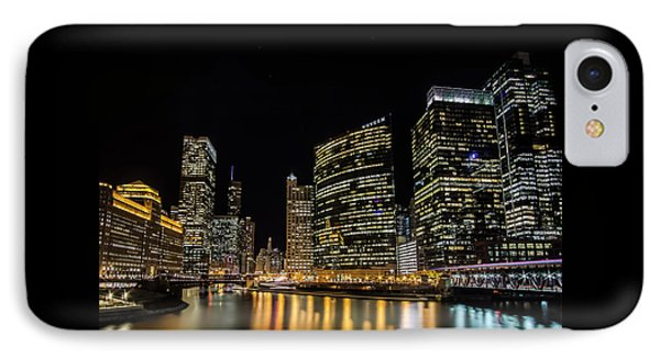 Chicago Night Skyline From Wolf Point IPhone Case
