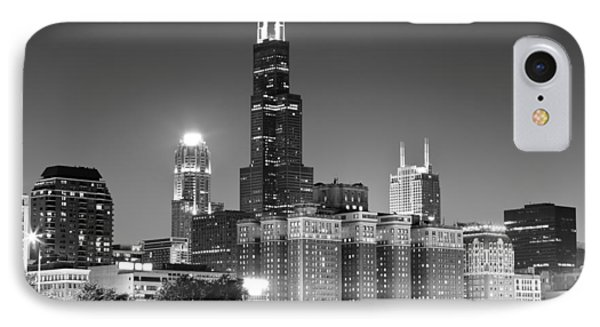 Chicago Night Skyline In Black And White IPhone Case